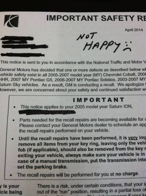 my general motors recall experience. Cars Review. Best American Auto & Cars Review